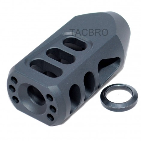 Black Anodized Aluminum Tanker Style Muzzle Brake 1/2x36 Thread Pitch for 9MM