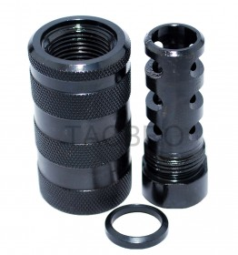 Black Anodized All Steel 458 Muzzle Brake 5/8x32 TPI + 13/16x16 Sound Sleeve Forwarder for .458 SOCOM