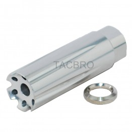 "3"" Linear Comp 1/2x28 Muzzle Brake Silver Anodized Aluminum For 223 .223 .22LR"
