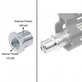 Silver Anodized Aluminum Muzzle Adapter Convert 1/2x28 TPI to 5/8x24 TPI