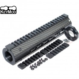 "9"" Keymod Super Slim Free Float 308 Carbon Fiber Handguard with Steel Barrel Nut and End Cap"