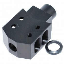 "Aluminum 1/2""x36 TPI Tanker Style Muzzle Brake Compactor for 9MM"