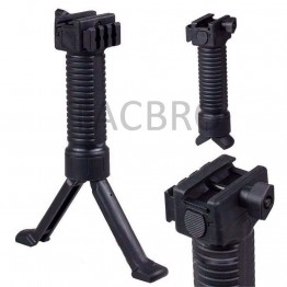 Vertical Hand Foregrip Polmer Push Button Bipod Grip W/ Side Rail Weaver
