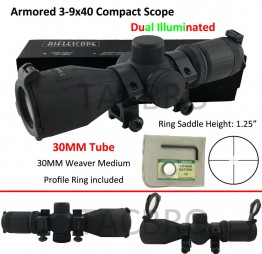 Rubber Armored 3-9X40 Scope Red & Green Illuminated