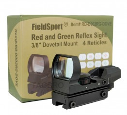 "Red and Green Reflex Sight with 4 Reticles, 3/8"" Dovetail Mount for Airgun"