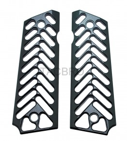 Skeleton Black Anodized Aluminum 1911 Grips Fit Gov. and Clones