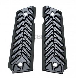 1911 Black Anodized Half Cut Aluminum Grips Fits Government Model & Clones
