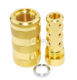 "Gold Anodized Aluminum 9MM Muzzle Brake 1/2""x36 TPI + 13/16x16 Sleeve Sound Forward"