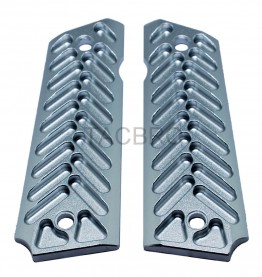 1911 Silver Anodized Half Cut Aluminum Grips Fits Government Model & Clones