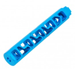 "Blue Anodized Aluminum Skeleton 6"" Add On Muzzle Brake 1/2""x28 for .223"