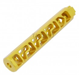 "Gold Anodized Aluminum Skeleton 6"" Add On Muzzle Brake 1/2""x28 for .223"