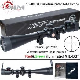 AIM SPORTS 10-40x50 DUAL-ILLUMINATED Mil-Dot Reticle Weaver/Picatinny Scope