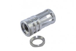 Stainless AR .223 1/2x28 TPI Bird Cage Muzzle Device.