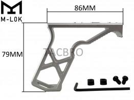 Silver M-LOK Super Light Skeleton Foregrip Vertical Forward Angled Grip Mlok