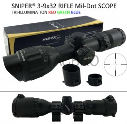 Sniper 3-9x32 Tactical Rifle Scope Mil Dot RGB Ill Front AO /w Picatinny Rings