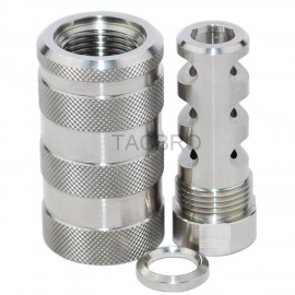 STAINLESS STEEL 9MM Muzzle Brake 1/2x36 & STAINLESS STEEL 13/16-16 Threaded Sleeve Sound Forwarder