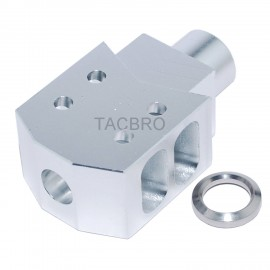 Silver Anodized Aluminum Tanker Style Muzzle Brake 1/2x36 Thread Pitch for 9MM