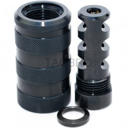 "STEEL 223 Muzzle Brake 1/2""x28 TPI & STEEL 13/16-16 Threaded Sound Forwarder /w Washer"