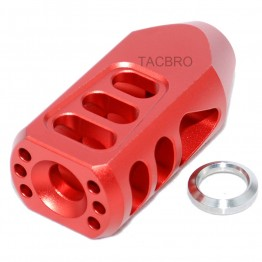 Red Anodized Aluminum Tanker Style Muzzle Brake 1/2x28 Thread Pitch for 9MM