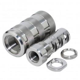STAINLESS STEEL 223 Muzzle Brake 1/2x28 + 13/16-16 Threaded Sleeve Sound Forwarder