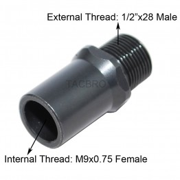 M9x.75 to 1/2x28 Muzzle Thread Adapter, Covert M9x0.75 to 1/2x28 TPI w/Protector