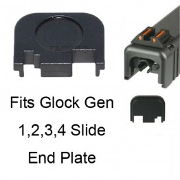 Gen 1-4 Glock Slide Rear Cover Plate, Slide End Plate, Black Anodized Aluminum