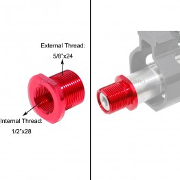 Red Anodized Aluminum Muzzle Adapter Convert 1/2x28 TPI to 5/8x24 TPI