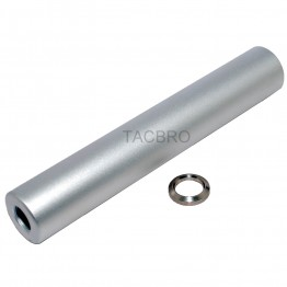 "223 Aluminum Blank 6"" Barrel Extension Muzzle Brake for 1/2""x28 Pitch -Silver"