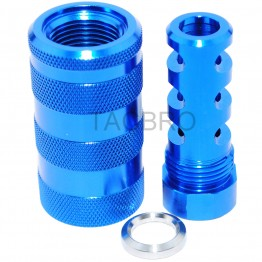 "Blue Anodized Aluminum 9MM Muzzle Brake 1/2""x36 + 13/16x16 Sleeve Sound Forward"
