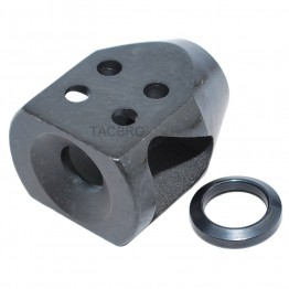 "All Steel 1/2""x36 TPI Mini Tanker Style Muzzle Brake for 9MM"