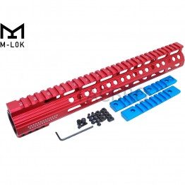 "12.5"" Red Anodized Ultra Light Super Slim Free Float 223 M-Lok Handguard With Steel Barrel Nut"