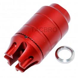 Anodized Red 223 Muzzle Brake 1/2x28 TPI Thread - Aluminum
