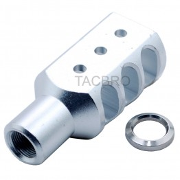 "Silver Anodized Aluminum Muzzle Brake for Ruger 1022 1/2""x28 Threaded Barrel"