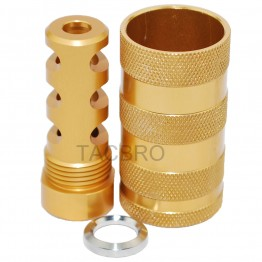 Gold Muzzle Brake 1/2x28 TPI & 13/16-16 Threaded Sound Forwarder /w Washer