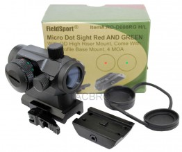 Micro Dual (Red/Green) Dot Sight With QD Riser Mount, Low Profile Base