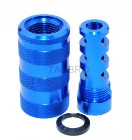 Blue Anodized 14x1 LH Muzzle Brake for 7.62x39 + 13/16x16 Sleeve Sound Forward
