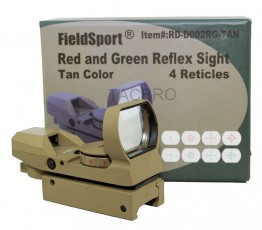 "Red and Green Reflex Sight with 4 Reticles, 3/8"" Dovetail Mount for Airgun Tan"