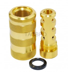 Gold Anodized 14x1LH Muzzle Brake for 7.62x39 + 13/16x16 Sleeve Sound Forward