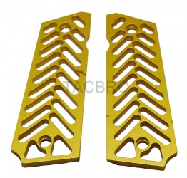 Skeleton Gold Anodized Aluminum 1911 Grips Fit Gov. and Clones