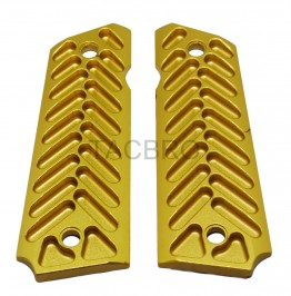 1911 Gold Anodized Half Cut Aluminum Grips Fits Government Model & Clones