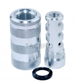 Silver Anodized 14x1LH Muzzle Brake for 7.62x39 + 13/16x16 Sleeve Sound Forward