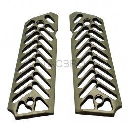 Skeleton Dark Tan Anodized Aluminum 1911 Grips Fit Gov. and Clones