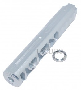 """.223 Skeleton Silver Anodized Muzzle Brake 1/2""""x28 Thread Pitch for 223"""