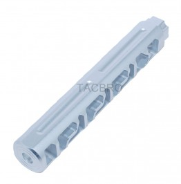 "Silver Anodized Aluminum Skeleton 6"" Add On Muzzle Brake 1/2""x28 for .223"