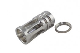 Stainless AR .308 1/2x28 TPI Bird Cage Muzzle Device.