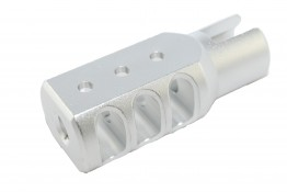 Aluminum Muzzle Brake for Ruger 1022, Silver Anodized Surface