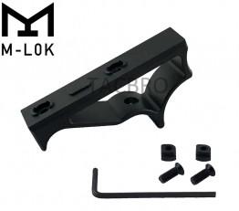 Black M-Lok Handguard Rail Angled Foregrip Front Short Skeleton Grip Finger Stoper