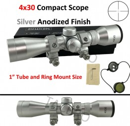 4X30 Silver Finish Shotgun, Rifle Scope With Mounts by Rifle Scope Silver Color