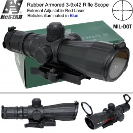 NCstar Mark III QD Rubber Armered Scope 3-9x42mm illuminated Mil-Dot Reticle