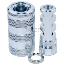 "Silver Anodized Aluminum 9MM Muzzle Brake 1/2""x36 TPI + 13/16x16 Sleeve Sound Forward"